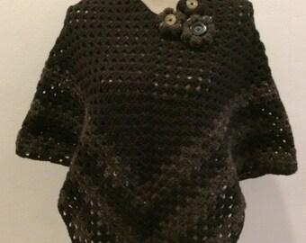 Crochet wool poncho
