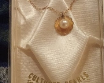 Vintage 12KT GOLD Filled PEARL NECKLACE unused in box