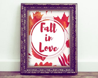 Fall In Love Printable Wall Art, Autumn Decor, Seasonal Home Decor, Fall Wall Art. Love Art, Nursery Decor, Watercolor Leaves, Typography