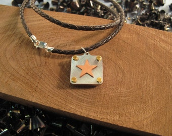 Copper star pendant - hammered - industrial - brass - stainless