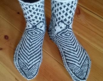 Pattern socks fair Isle style Gr. 38-40