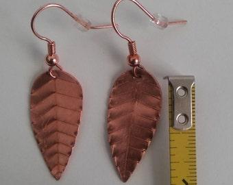 Small Copper Leaf Earrings