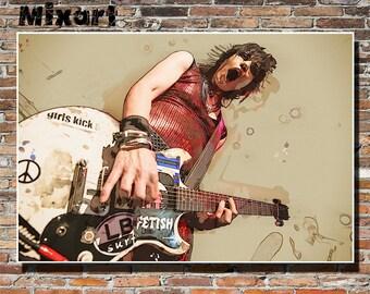Joan Jett 19x13 Print, Wall Art, Poster, Painting, Joan Jett, Instagram, Rock, Hard Rock, Punk Rock, Cherry Bomb, I Love Rock 'n' Roll
