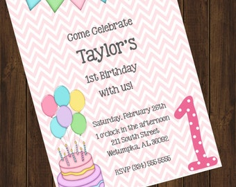 Chevron Birthday Invitation
