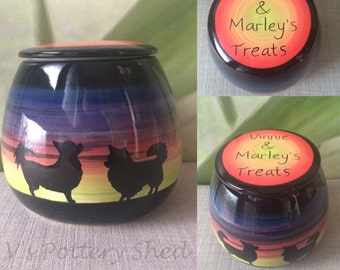 Dog treat jar, puppy, chihuahua, dachshund, greyhound, shi tzu, mans best friend, german shepherd, husky, spaniel, french bulldog, any breed
