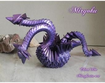 Purple, Modular Origami, Handmade, Dragon, Fantasy, paper dragon, italian handmade, origami dragon