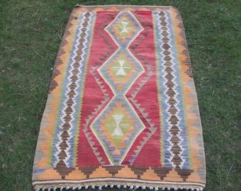 NOMADIC KILIM Anatolia Rug ,Tribal Kilim Red Color Decor Kilim