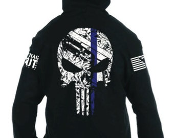 Thin Blue Line Punisher Zip up Hoodie