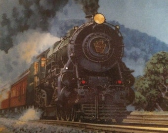 """Set of Two Decorative Train Plates by Knowles """"The Broadway Limited"""" and """"The Empire Builder"""" Vintage Collector Plates REDUCED"""