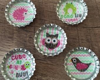 Bottle cap magnets / woodland magnets / party favors / kids party favors / bottle cap party favors
