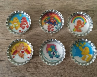 Care Bear magnets / bottle cap magnets / party favors / kids party favors / bottle cap party favors / Care Bear party