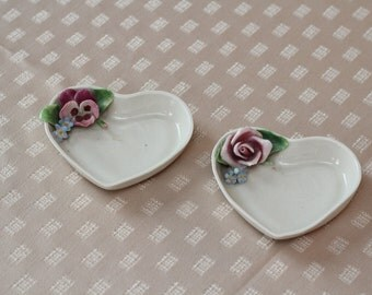 Vintage Pair of Heart DIshes With Roses