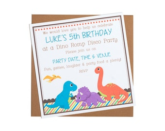Personalised Dinosaur Party Invitation
