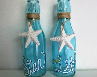 "Hand-Painted Decorative Blue Bottles featuring ""Star Life"" and Starfish Charms, set of 2"