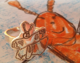 Custom made ring using your child's art - SHAPED - Perfect Gift for MOM - Unique pieces - Perfect Birthday Gift - Filii
