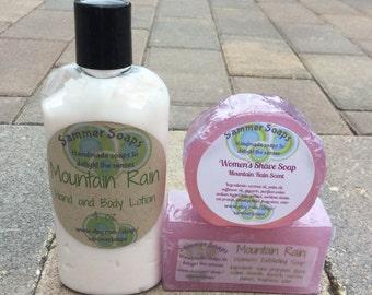 Women's Shave Soap Set Includes Exfoliating Soap, Shave Soap and Lotion, Women's Shaving Soap Set, Exfoliation Soap