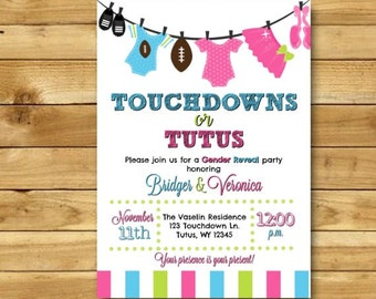 Touchdowns or Tutus Gender Reveal Invitation, Touchdowns or Tutus Invitation Tutus and Touchdowns Gender Reveal Party DIGITAL 5x7