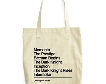 Christopher Nolan Tote - Movie Tote Bag - Gift for cinema lover - Nolan Tote Bag - Memento - Batman - Dark Knight - Inception - Interstellar