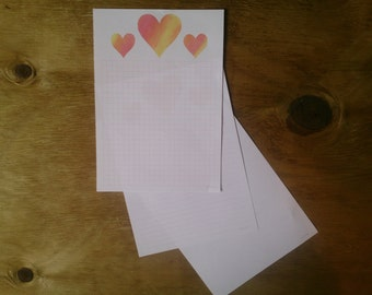 Printable notepaper - watercolour hearts