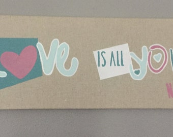 "Table painting on linen pink and green heart ""Love is all you need"""