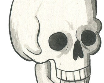 Happy skull - watercolor illustration - art print 5x7