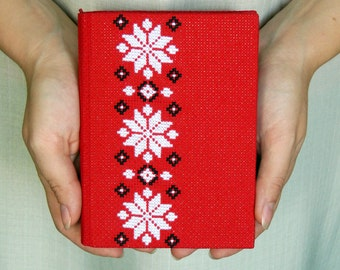 Red embroidered journal - Medium soft eco journal with cross-stitch - Recycled fabric eco-friendly journal - Ukrainian journal