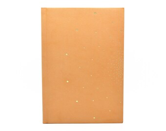 Guestbook in natural leather Golden hand
