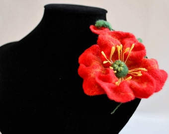 Red felted brooch. Branch poppy Bud. A gift for a woman. A gift for Mother's Day ! Handmade.