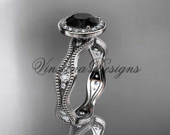 Platinum diamond engagement ring, Black Diamond VD10081
