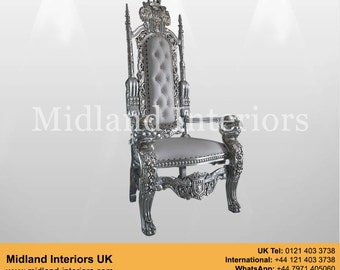 NEW Lion King Queen Throne Chair - Silver & White leather