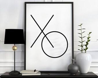 Typography poster, XO print, best selling prints, modern home decor, on sale, wall art prints, geometric prints affiche scandinave XO poster