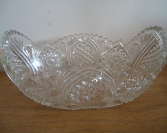 Antique french handcut oval cristal bowl