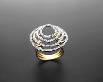 VA002,Diamond Ring,  14k Yellow Gold,  14k White Gold