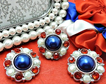 4Th Of July Pearl Rhinestone Patriotic Buttons Red White & Blue Plastic Acrylic Rhinestone Buttons DIY Accents Wedding 25mm 2997 28P 3 J2R