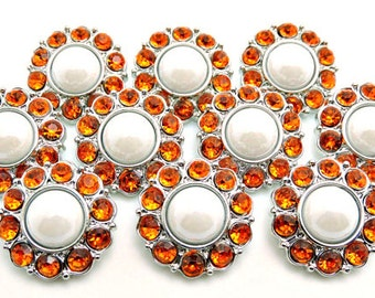 SHINY WHITE Pearl Buttons W/ Orange Surrounding Rhinestone Acrylic Rhinestones Coat Buttons Button Bouquet Diy Craft 25mm 2997 38P 40R