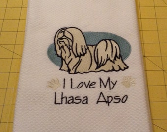 I Love My Lhasa Apso Embroidered Kitchen Hand Towel, Williams Sonoma All Purpose, 100% cotton & Extra Large 20 x 30.