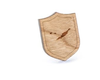 Anguilla Lapel Pin, Wooden Pin, Wooden Lapel, Gift For Him or Her, Wedding Gifts, Groomsman Gifts, and Personalized