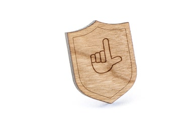 Asl L Lapel Pin, Wooden Pin, Wooden Lapel, Gift For Him or Her, Wedding Gifts, Groomsman Gifts, and Personalized