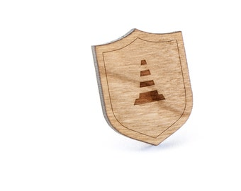 Traffic Cone Lapel Pin, Wooden Pin, Wooden Lapel, Gift For Him or Her, Wedding Gifts, Groomsman Gifts, and Personalized