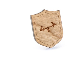 Seesaw Lapel Pin, Wooden Pin, Wooden Lapel, Gift For Him or Her, Wedding Gifts, Groomsman Gifts, and Personalized