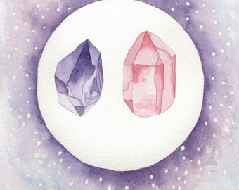 "Amethyst Rose Quartz Watercolor Gemstone 5""x7"" Fine Art Print"