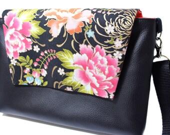 small handbag original woman leather and Japanese fabric