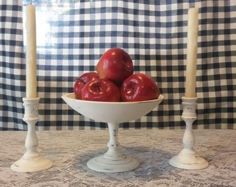 Shabby chic centerpiece fruitbowl and candle sticks white