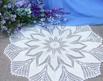 Handmade White Crochet Doily 17 inch