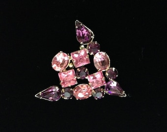 Vintage Pink and Purple Rhinestone Brooch-Art Deco Rhinestone Brooch-Vintage Rhinestone Jewelry