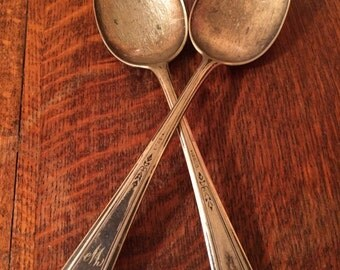 """Antique 1881 Rogers A1 Silver Plated """"M"""" Initial Table Spoons"""