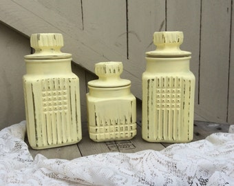 Set of Three Shabby Chic Canisters in Pastel Yellow