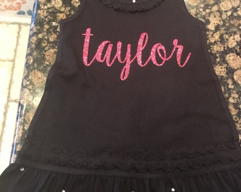 Personalized dressbwith rhinestone accents
