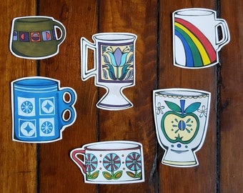 Kitsch Vintage Mugs Vinyl Stickers - Set 1