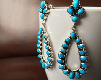 Sterling Natural Sleeping Beauty Turquoise Navajo Cluster Earrings Handmade And Signed By Emma Lincoln
